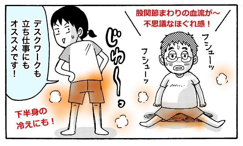 股関節まわりの血流が良くなり腰まわりも軽く(イラスト:現実の旦那)