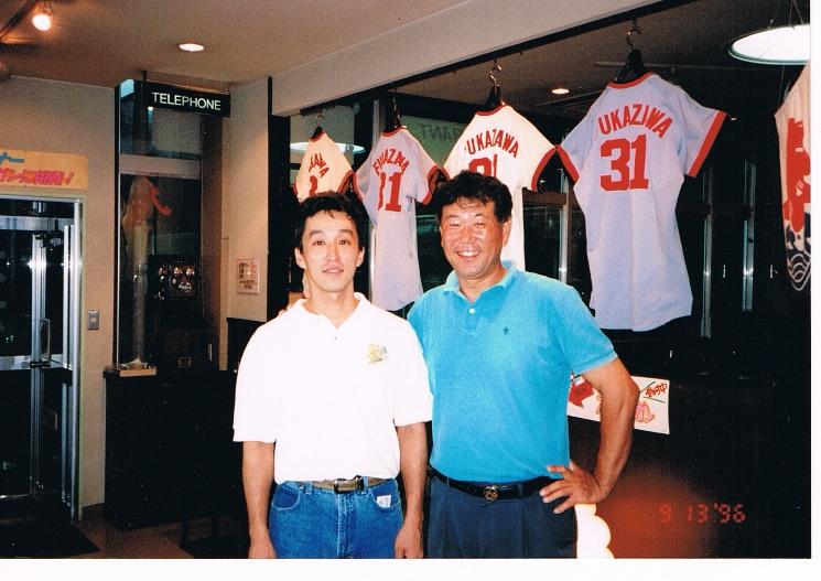 1996年に深澤社長と。我ながら「若っ」!