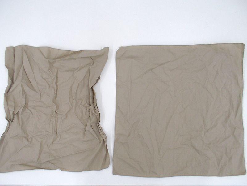 ハンカチを洗濯してみました。左側は風アイロンなし、右側は風アイロンあり