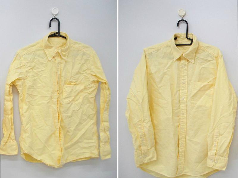 綿100%のシャツを使用。約3kgの洗濯物で運転しました(1日に、大人一人あたり約1.5kgの洗濯物があると仮定し、計2人分)。左側は風アイロンなし、右側は風アイロンありのモデルで乾燥。一人分だけで洗うともっとシワが減ります