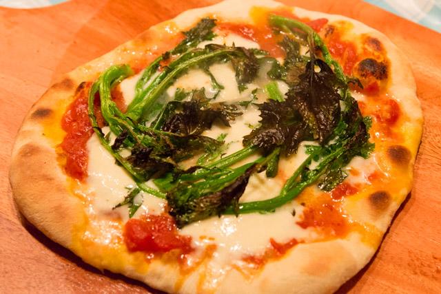 トマトソース×モッツァレラチーズ×からし菜のピザ