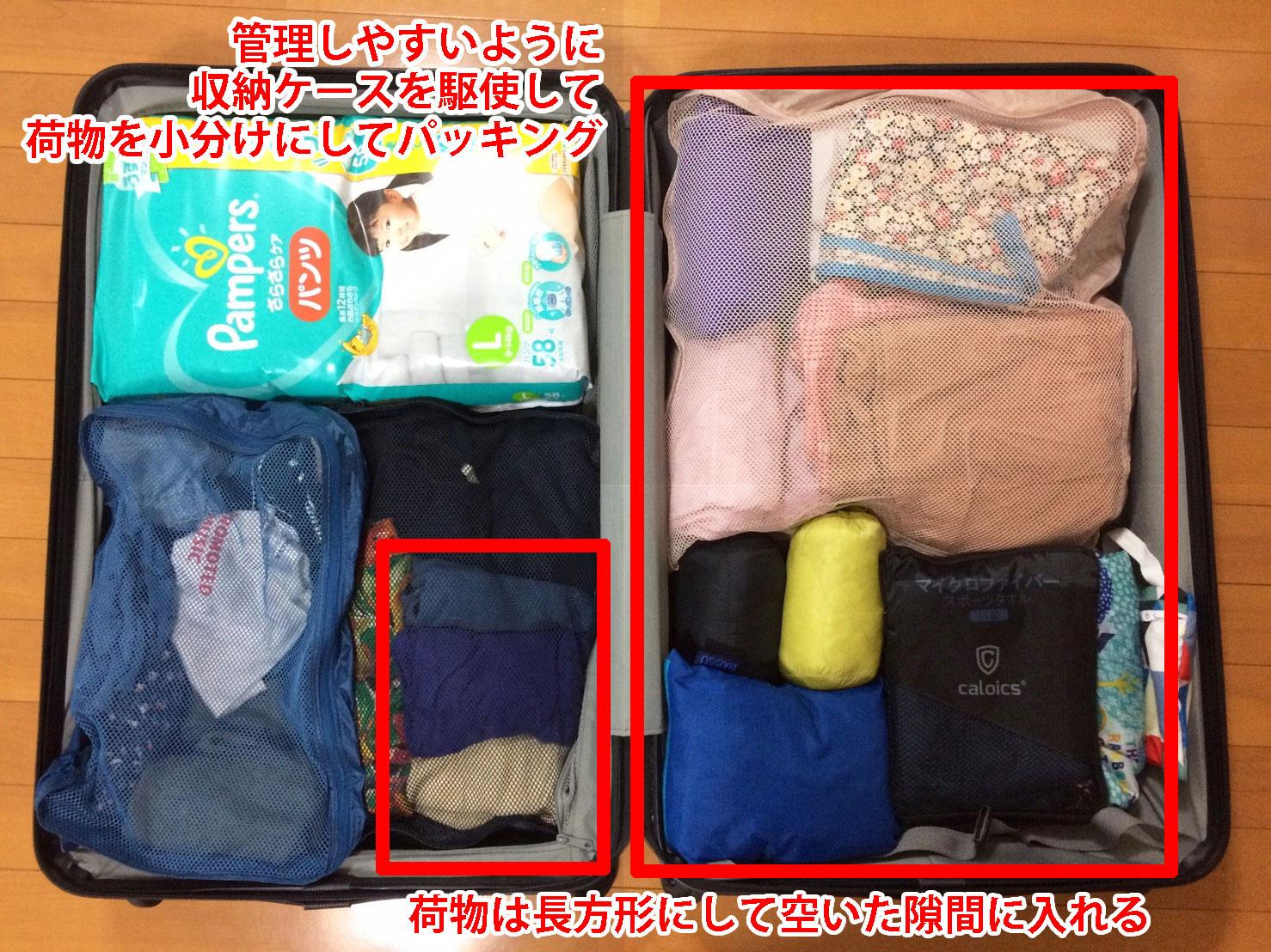 子連れ旅行の荷造り