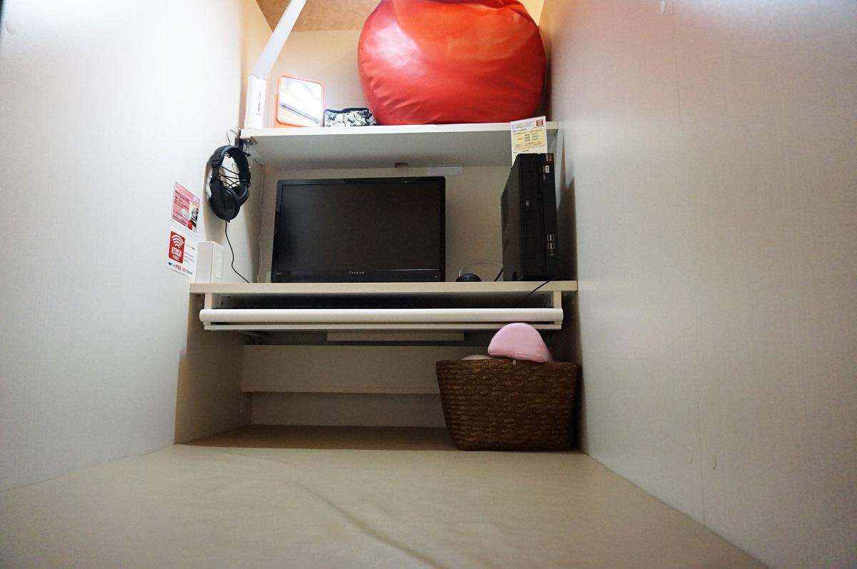 大阪、梅田にあるサウナ&カプセルホテル「大東洋」の個室ブース
