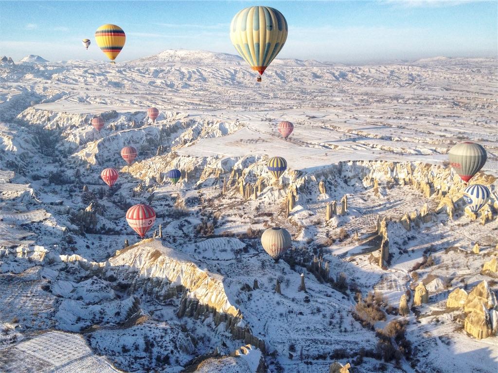 トルコで感動した、気球の浮かぶ雪景色