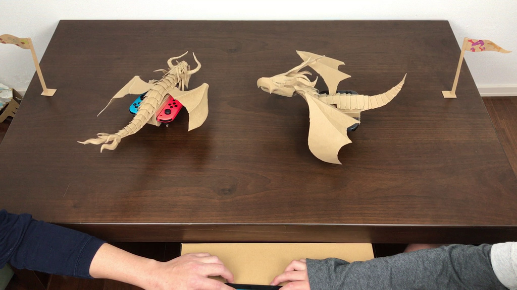 Nintendo Labo ダンボール工作したドラゴンリモコンカーで長男と試合