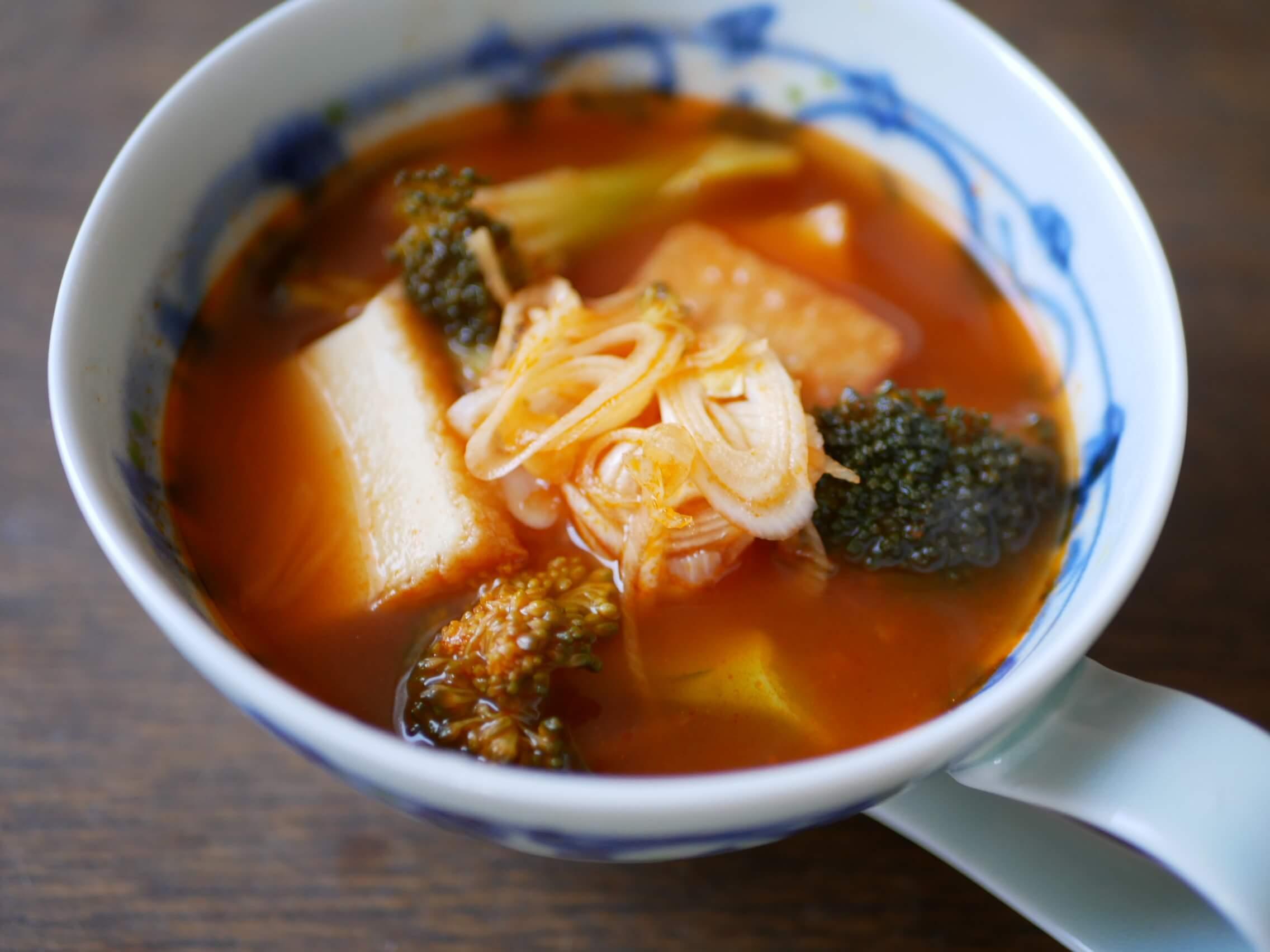 厚揚げとブロッコリーの中華風甘酢スープ