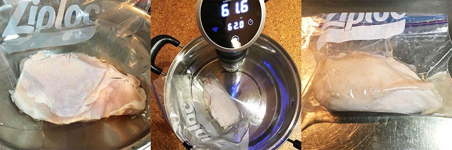 低温調理。左から空気を抜く様子、湯煎、加熱した鶏むね肉の様子