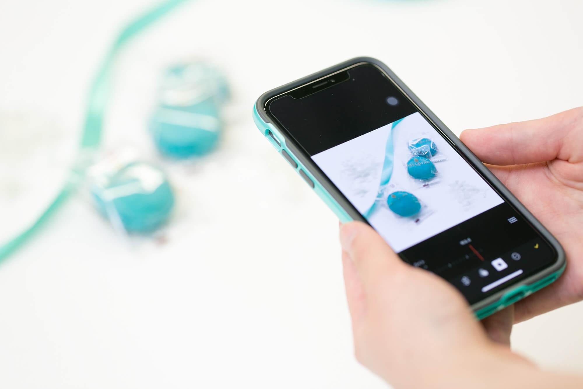 アプリで撮影したダロワイヨのショコラミント マカロン