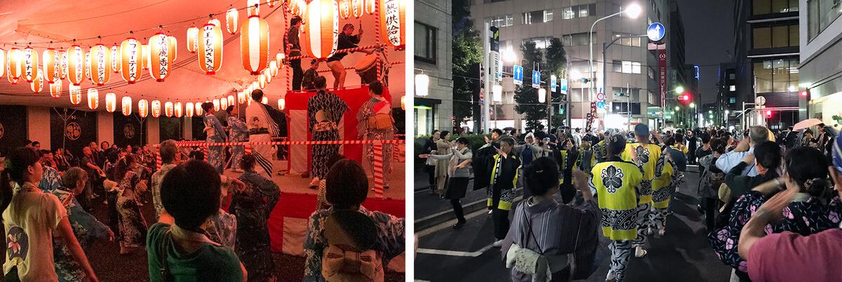 都内の盆オドラーにとって新たなシーズンの開幕となる「山王音頭と民踊大会」(左)、踊り納めとなる「べったら音頭大会」(右)