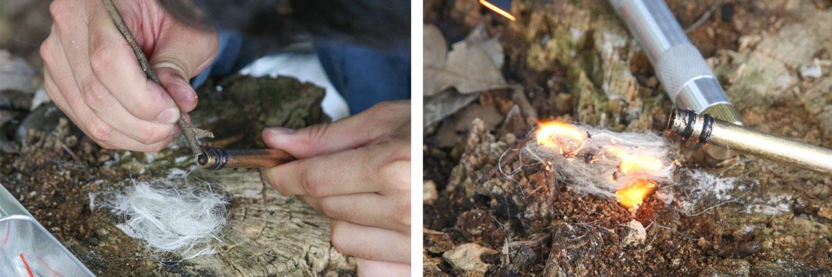 火種を細い枝などを使って、麻ひもなどを解いた火口に移す
