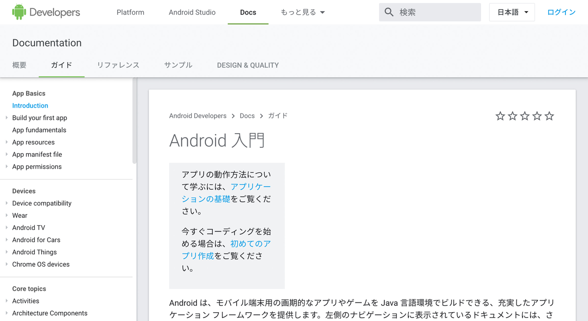 Androidアプリ作成ガイドのトップページ