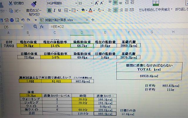 エクセルで減量の計画表を作り、計画どおりに減量していく