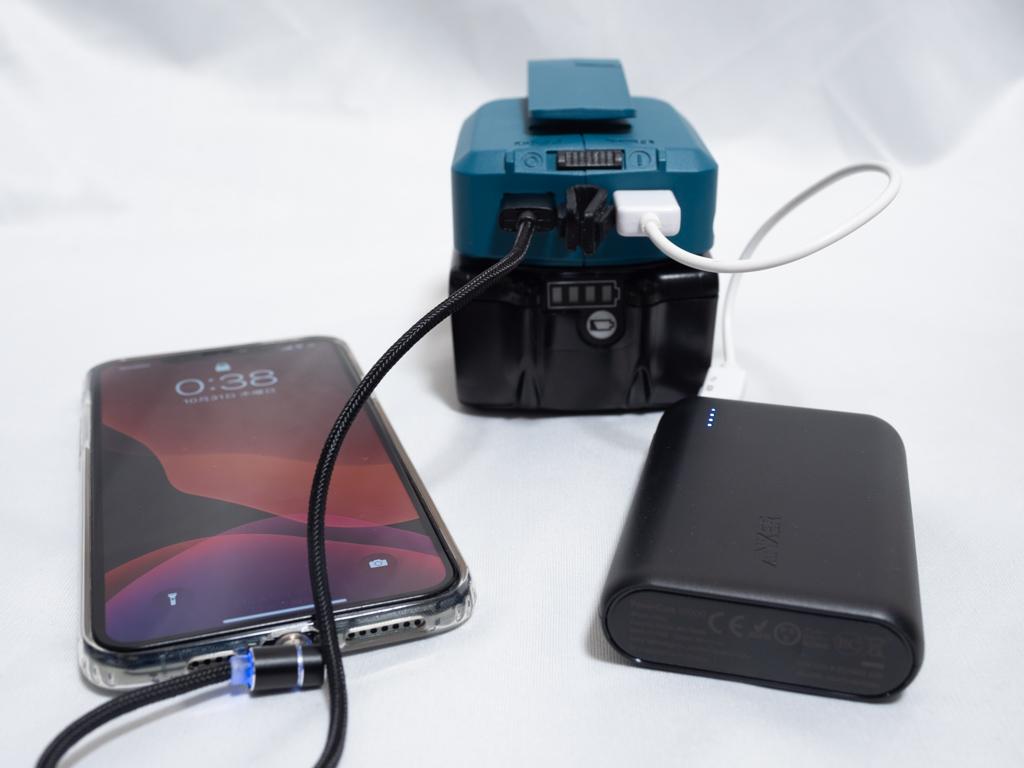マキタのバッテリがモバイルバッテリに変身した