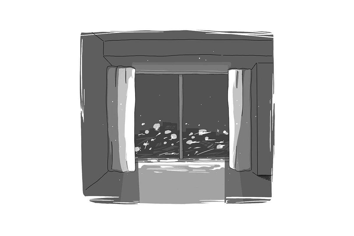 街灯の差し込む部屋