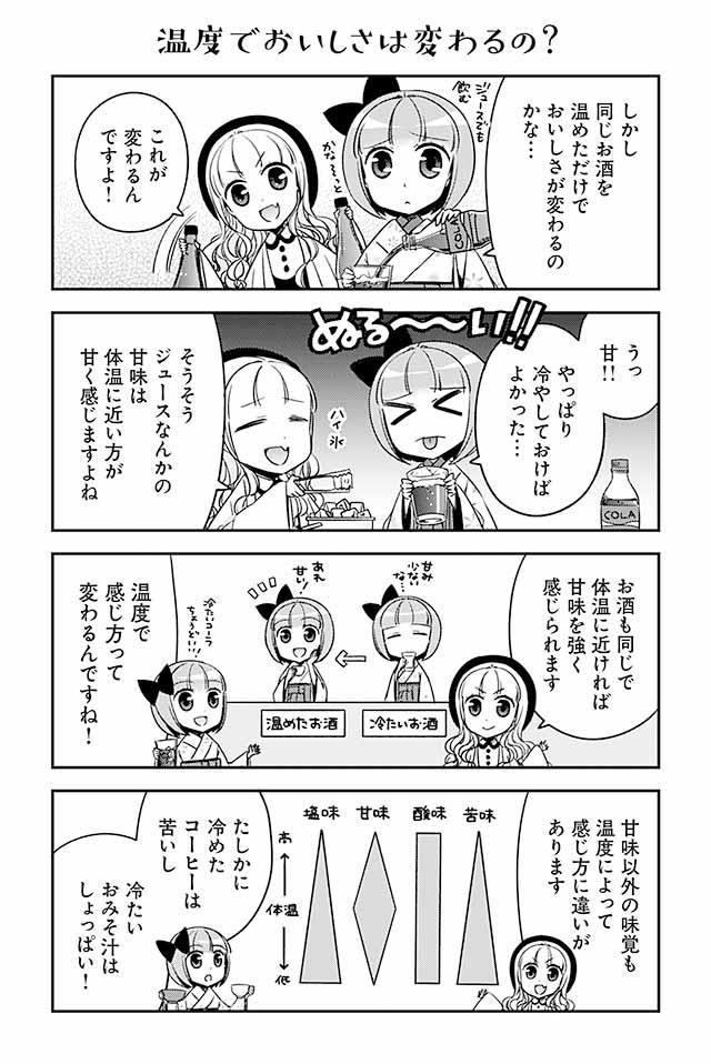 日本酒は温度によって味わいが変わります。体温に近いほど甘みを強く感じるため、冷たいお酒では甘みを少ないと感じても温めると甘く感じることがあります。