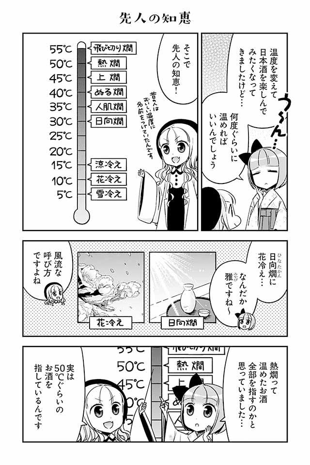 日本酒は温度によって呼び方が変わります。例えばよく聞く「熱燗(あつかん)」は50℃前後。他には「ぬる燗」「人肌燗」などもあります。温めた日本酒をすべて熱燗と呼ぶわけではないのです。冷やした日本酒(つまり冷酒)のことは温度ごとに細分化して「涼冷え」「花冷え」「雪冷え」などと呼びます。