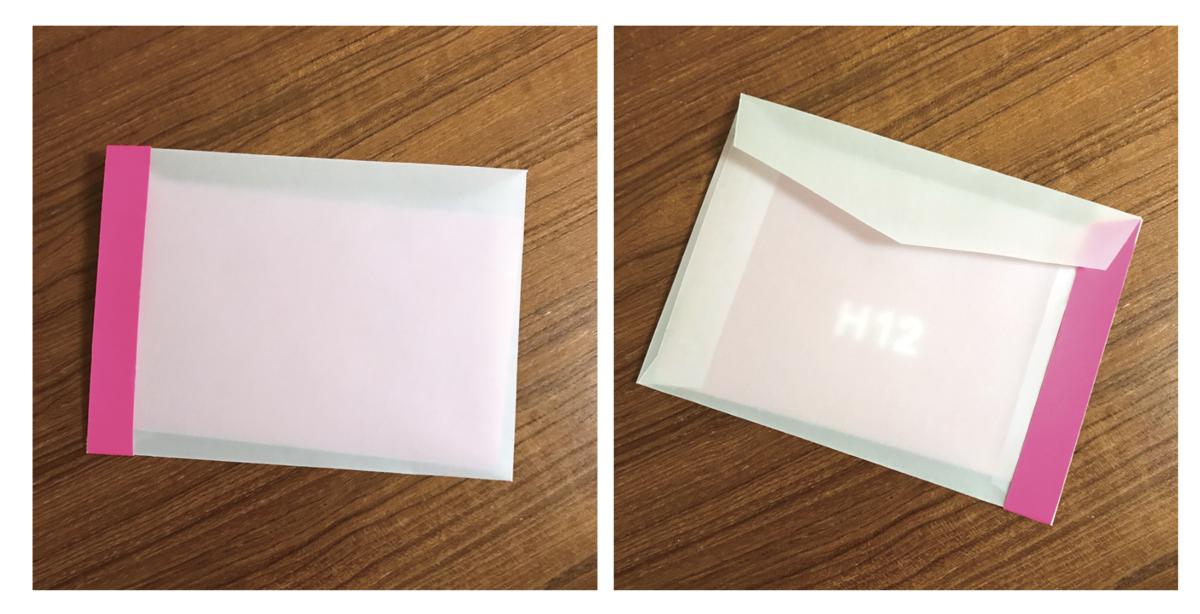 アナログで封筒を作る場合、厚手のトレーシングペーパーと蛍光紙で衣装を再現してもいい
