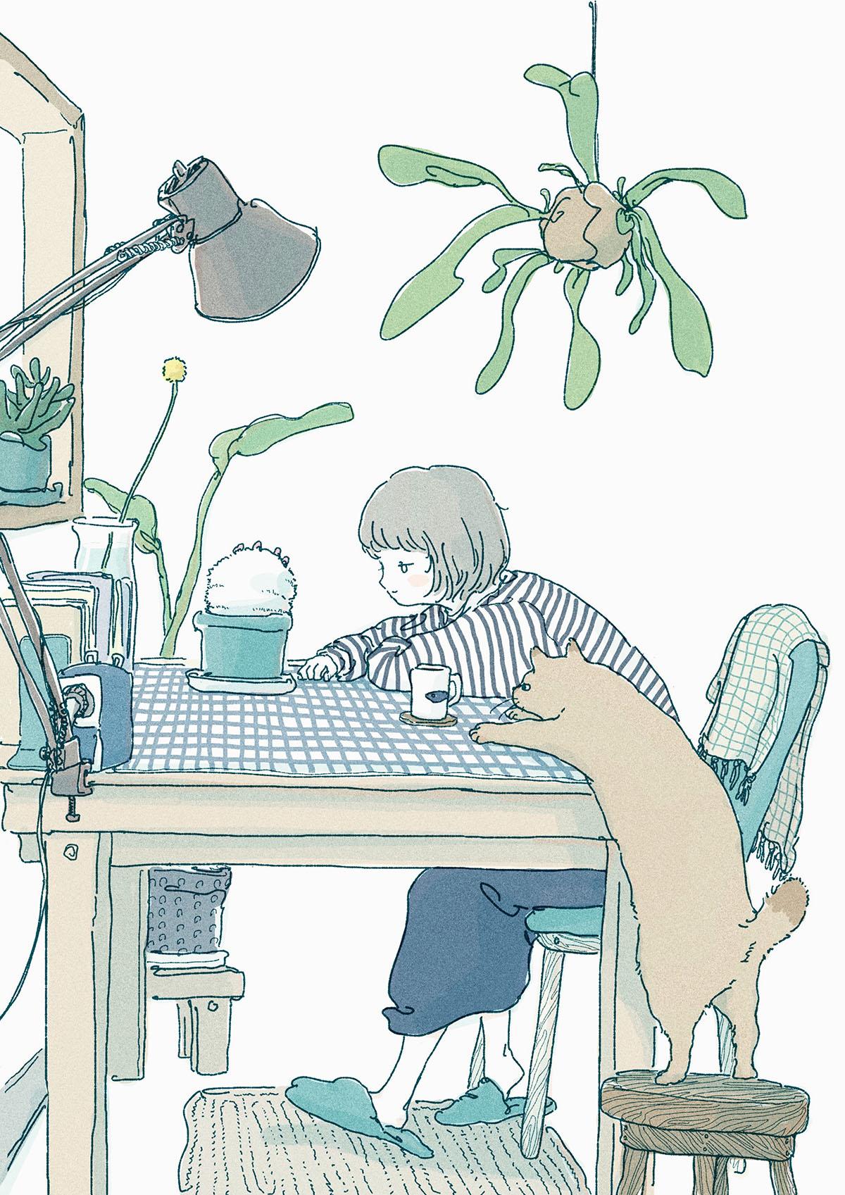 部屋で植物を眺める様子のイラスト