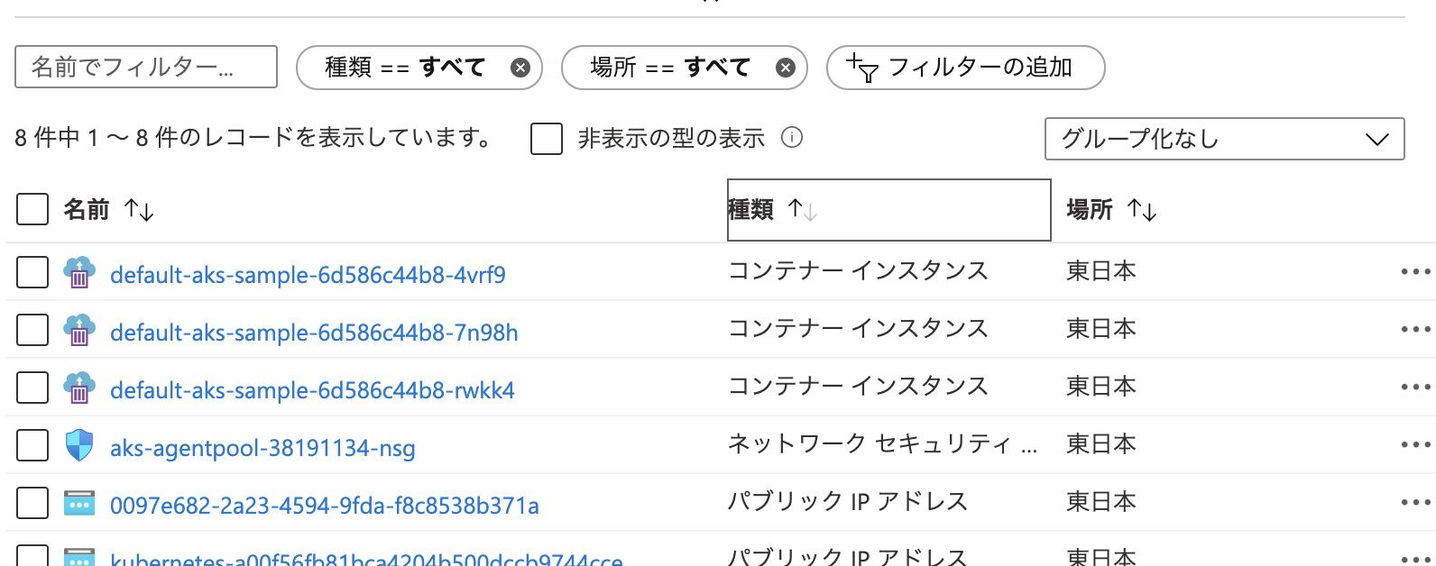 AKSクラスターのリソースグループ
