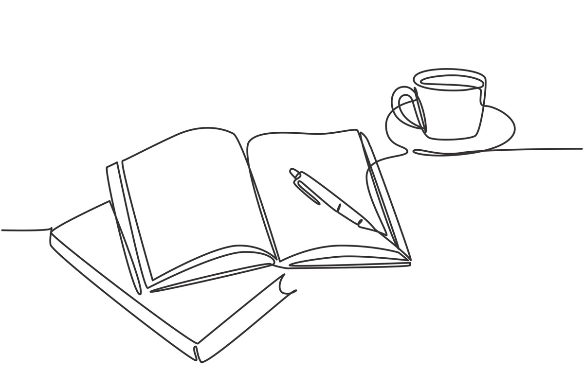 本とノートとコーヒーカップ