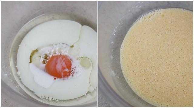卵と油と牛乳を入れてよく混ぜる