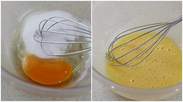 卵と砂糖とバニラエッセンスを混ぜる