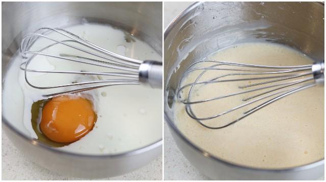 卵と牛乳と油を混ぜる