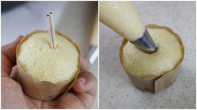 ケーキの中にクリームを入れる
