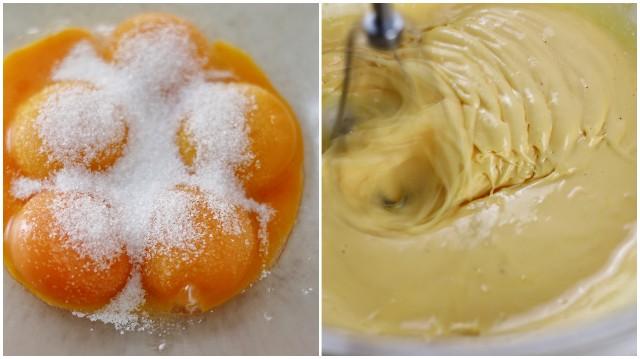 卵黄を泡立てる