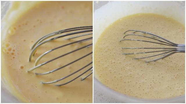牛乳とぬるま湯を入れて混ぜる