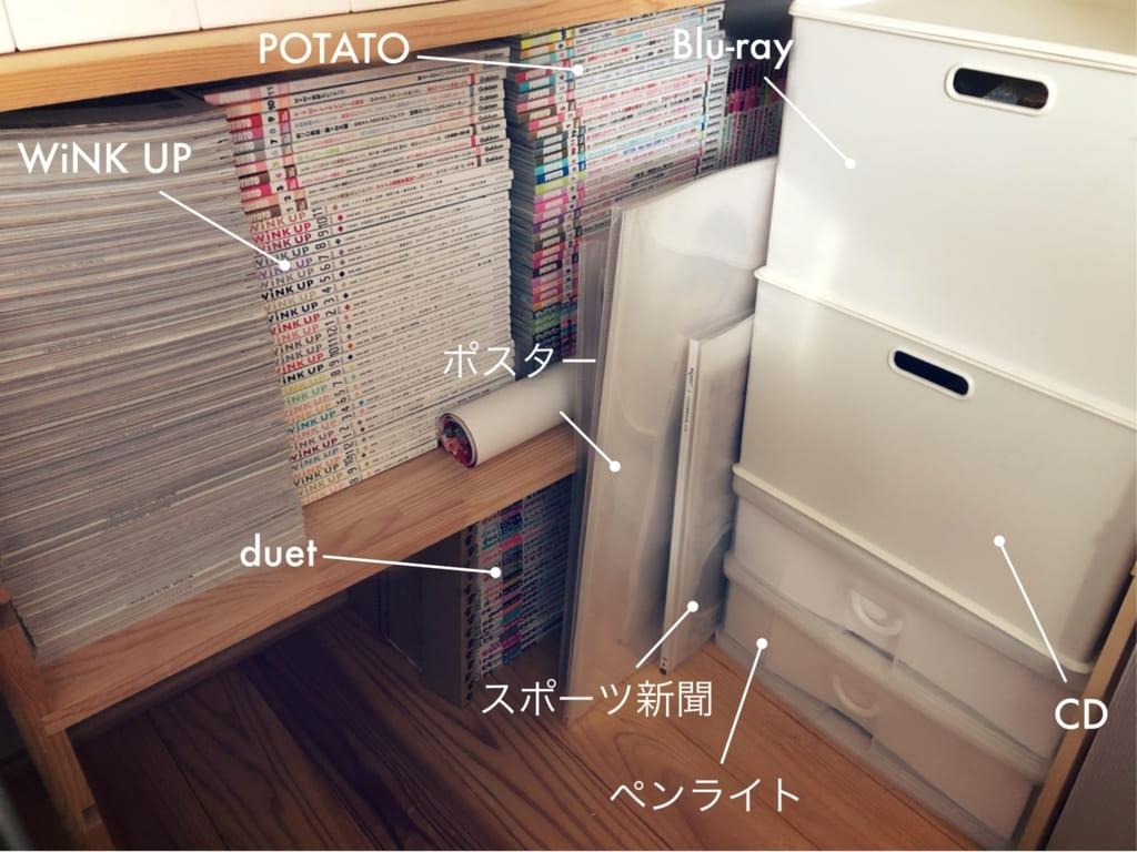 ジャニヲタ収納術・ファイルにしまえない大きい紙モノは倒れないよう工夫
