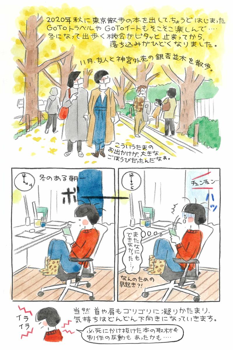 Gotoトラベル、Gotoイートを活用し時々外に出ていたものの、冬になり再び自宅にこもる日々が続き体調不良に。このままではいけない、と朝散歩を導入することに