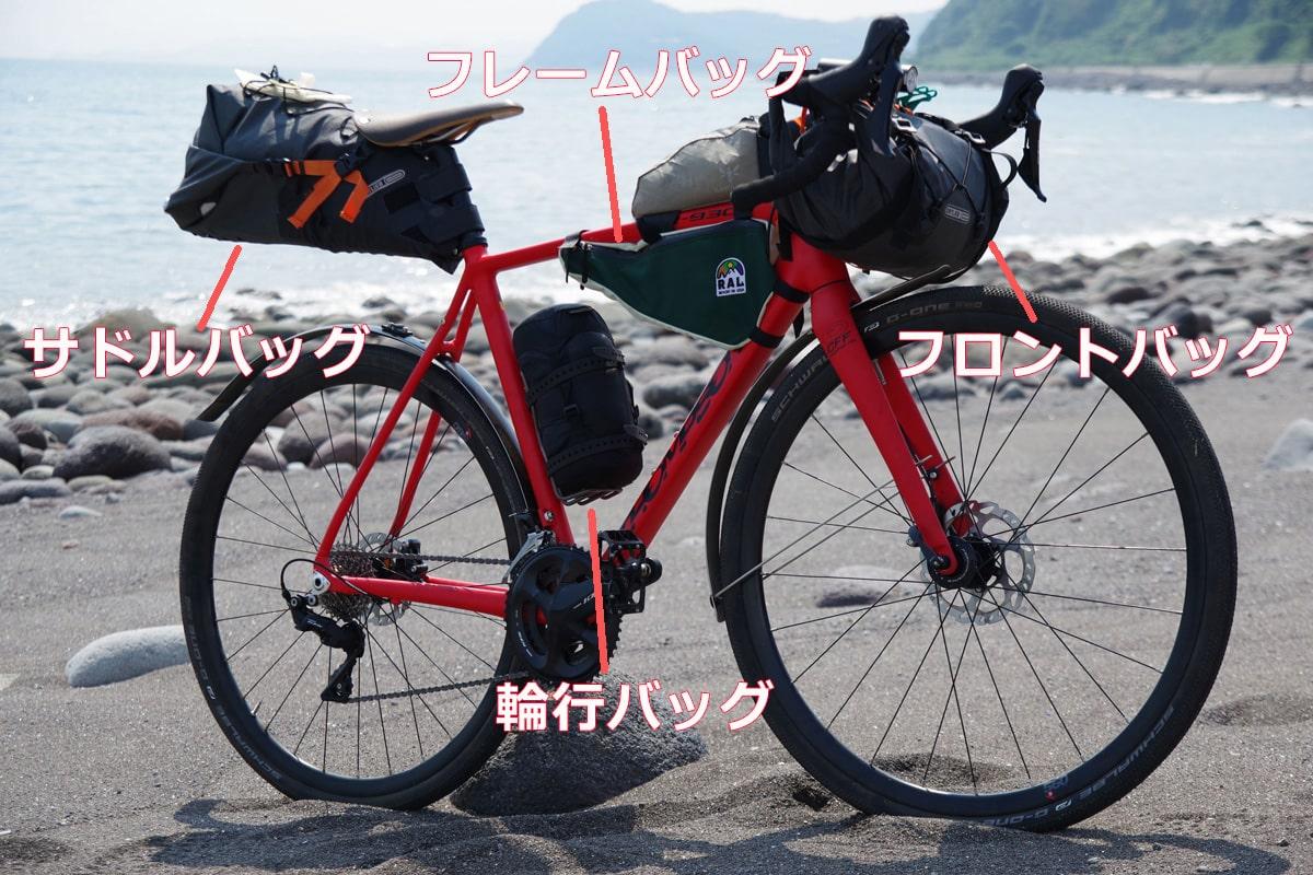 自転車のサドルやハンドルに取り付けるバッグ。フロントバッグ、フレームバッグ、輪行バッグ、サドルバッグ