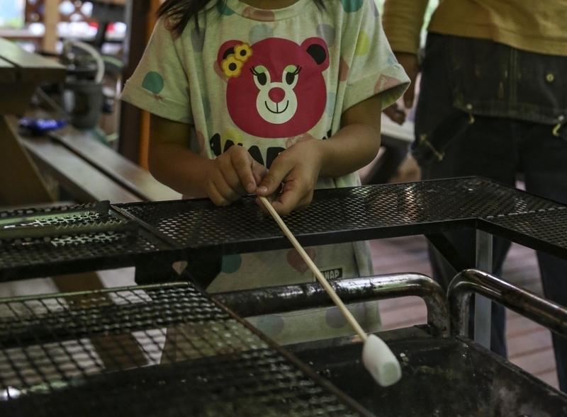 ワイルドな外遊び用のキャンプ道具。BBQ串&マシュマロ