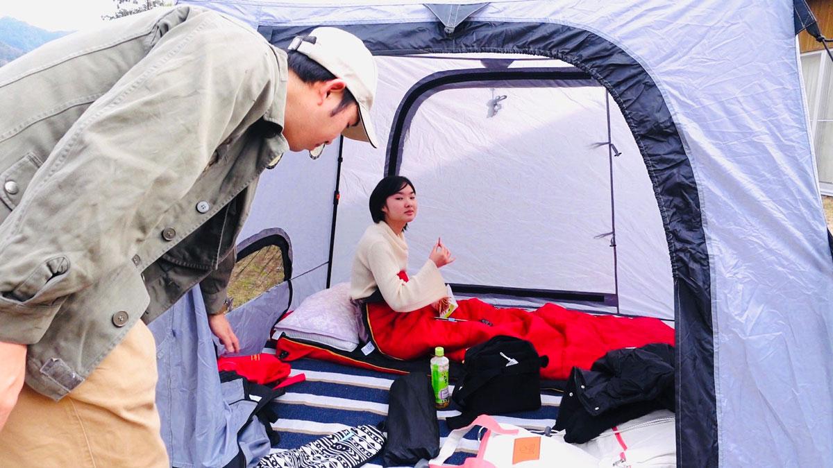 テントの中でゆっくり