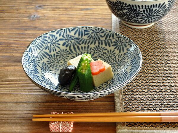 藍染たこ唐草5.5浅鉢
