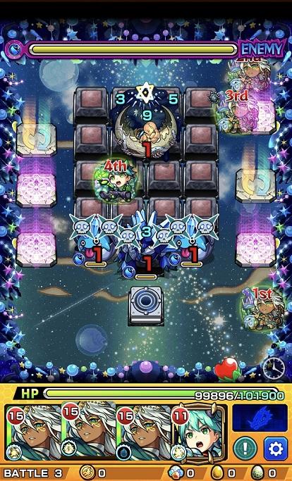 モンスターストライク ゲーム画面 轟絶ノクターン ステージ3