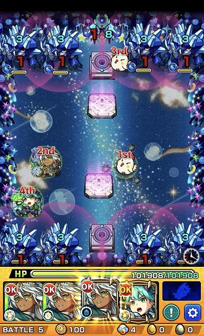 モンスターストライク ゲーム画面 轟絶ノクターン ステージ5