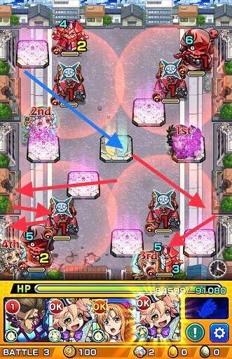モンスターストライク ゲーム画面 超究極 オーバーホール BATTLE 3