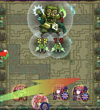 モンスターストライク 英雄の神殿 木 時の間2 BATTLE1 打ち方