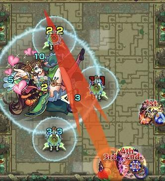 モンスターストライク 英雄の神殿 木 時の間2 チャンスバトル後 BATTLE2 3手目 打ち方