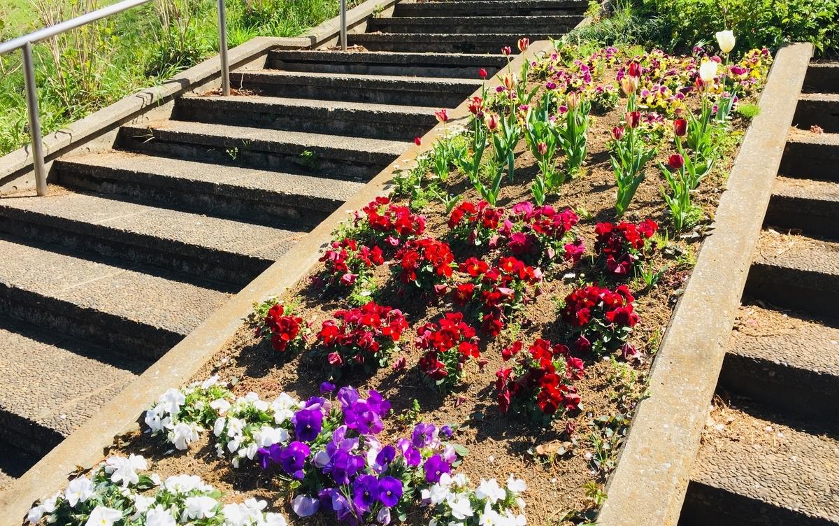 階段脇にも綺麗な花壇