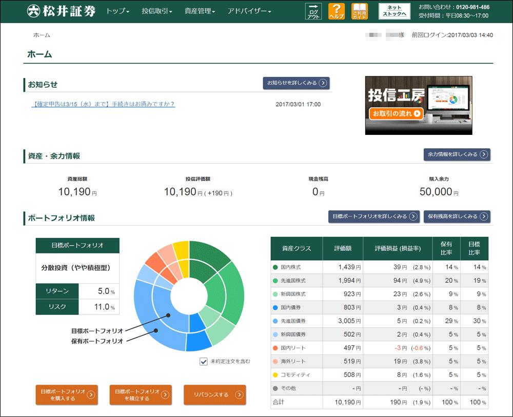 ロボアドバイザー松井証券
