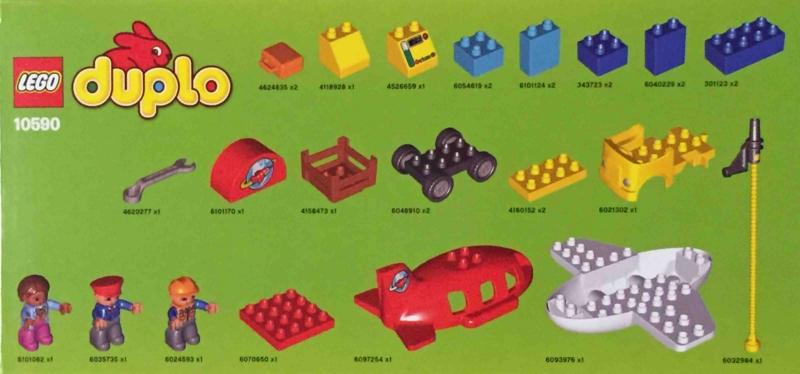 LEGO duplo 10590 レゴ デュプロ のまち くうこう 箱側面のパーツ表