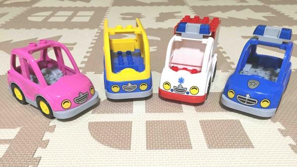 LEGO レゴ デュプロ おみせやさんセットのクルマ バス きゅうきゅうしゃ パトカー