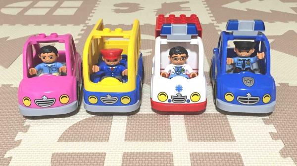 LEGO レゴ デュプロ 店員さん、バスの運転手、お医者さん、おまわりさんとのりもの