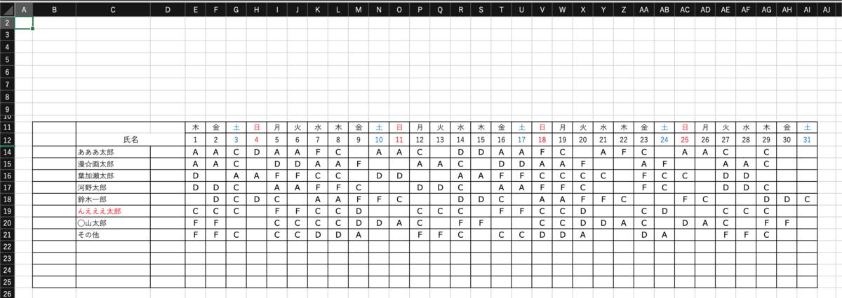 シフト表の画像