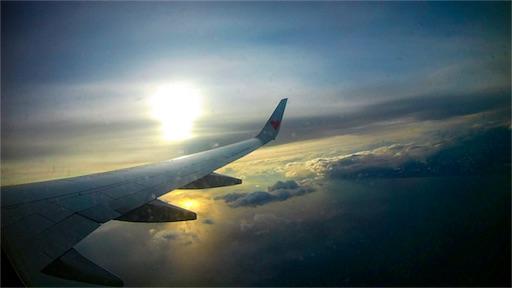 台湾行きの飛行機の中から撮った空の写真