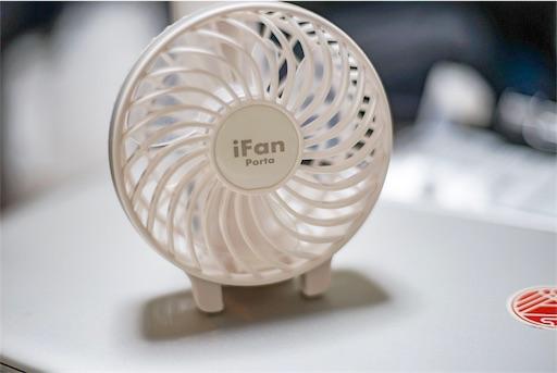 固定したiFanをPCの上に置いた図
