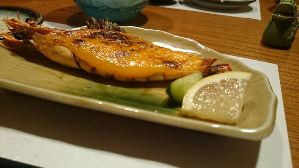 f:旬香の海老のウニソース焼き